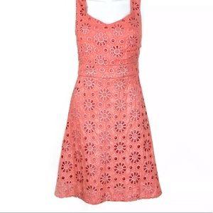 Anthropologie Maeve coral shine eyelet dress